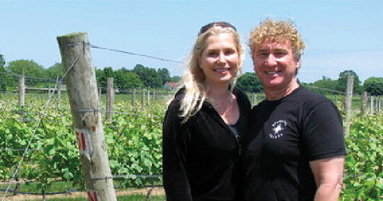 Cynthia and Tom Rosicki at Sparkling Pointe Vineyards, NY