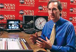 Steve Jones '89 in the ABC News Radio studio.