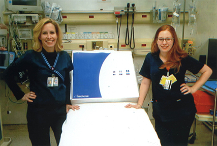Jennifer Whalen '09 (left) conducted research on Elmhurst Hospital Center's multi-service induced hypothermia program