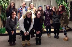 Bonne (back row, third from left), and fellow social work students prior to the annual Midnight Run to deliver food and essentials to the homeless of New York City.