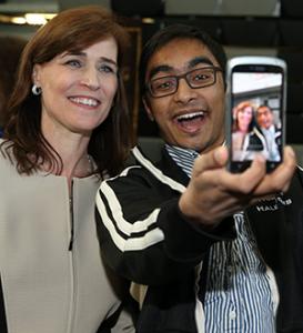 Kazi Rezwan took a selfie with President Riordan on Inauguration Day.