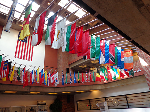 Flags representing the home countries of our international student adorn the University Center lobby.