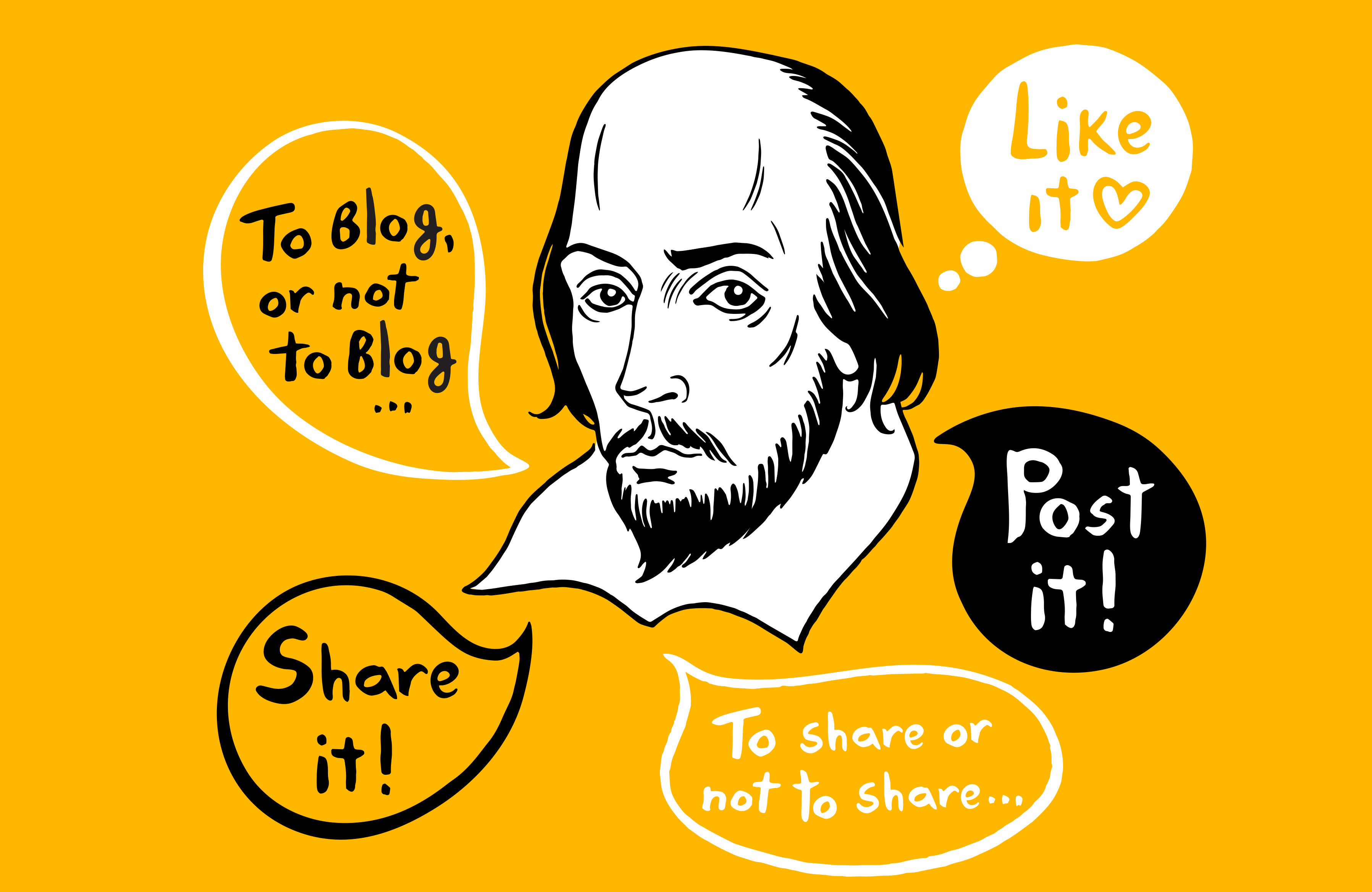 Illustration, Shakespeare portrait with speech bubbles and social media, internet, blogging, web communications quotes.