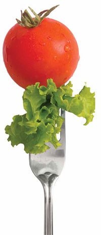 Tomato and Lettuce on a Fork