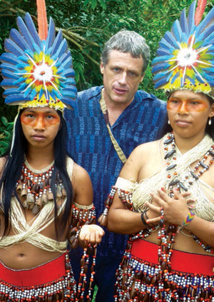 Professor Douglas London with Waorani tribal members