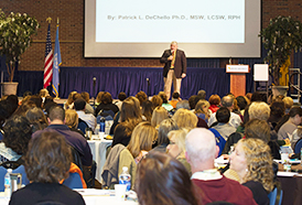 Dr. DeChello played to a packed house at the Ruth S. Harley University Center.