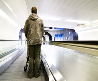 Veteran coming home at airport