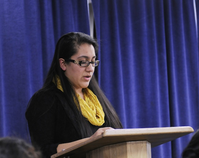 Jacqueline Galdamez, a junior in the School of Social Work, reads her story.