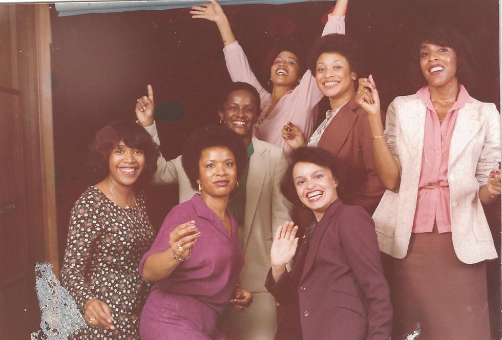 1979 Reunion in Washington, D.C. From left: (front) Lavida (Robinson) Allen '72, Lorene (Street) Wilkerson '69, Charlotte (Matthews) Harris '69; (middle) Renaye (Brown) Cuyler '70, Diane (Hunter) Hazel '69, Jacquelyn Lendsey '71; (back, arms extended) Joyce (Barnett) Montague '69.