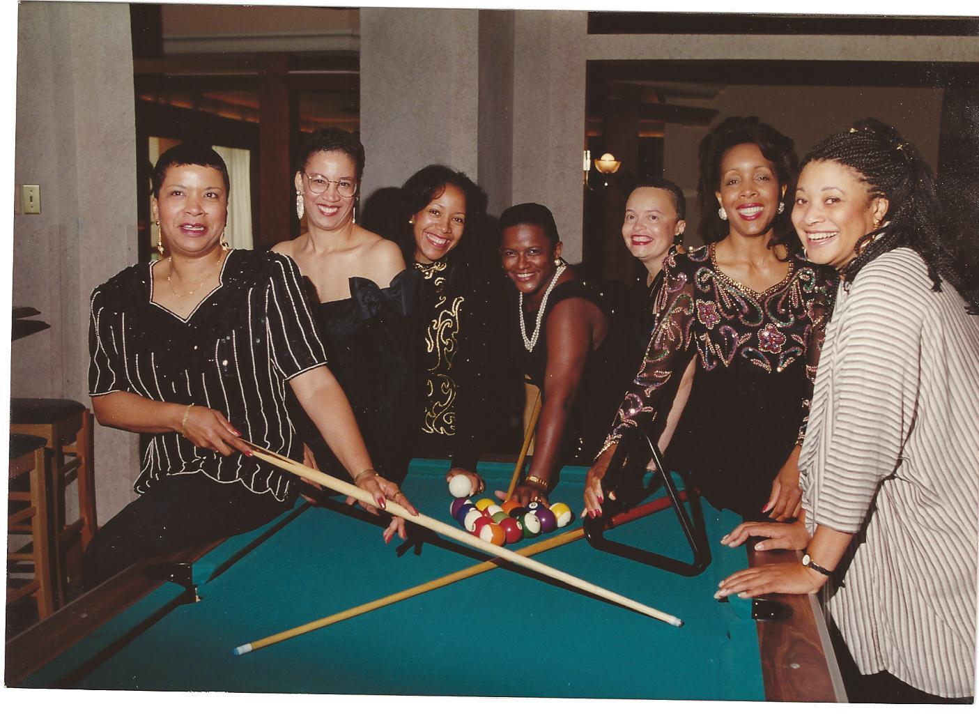 1994 Reunion in New York. From left: Lorene (Street) Wilkerson '69, Joyce (Barnett) Montague '69, Lavida (Robinson) Allen '72, Renaye (Brown) Cuyler '70, Charlotte (Matthews) Harris '69, Jacquelyn Lendsey '71, and Diane (Hunter)  Hazel '69.