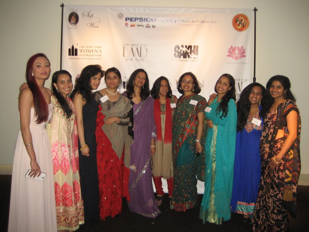 Monica Roy (far left), with Bithi Roy (fourth from right) and other celebrants at the Sakhi gala.