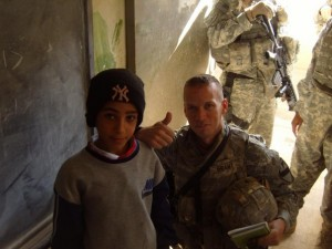 Keith Grant visited a school while on a 2007 patrol north of Baghdad.