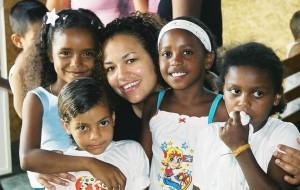 Nicole Chere' Wood with kids