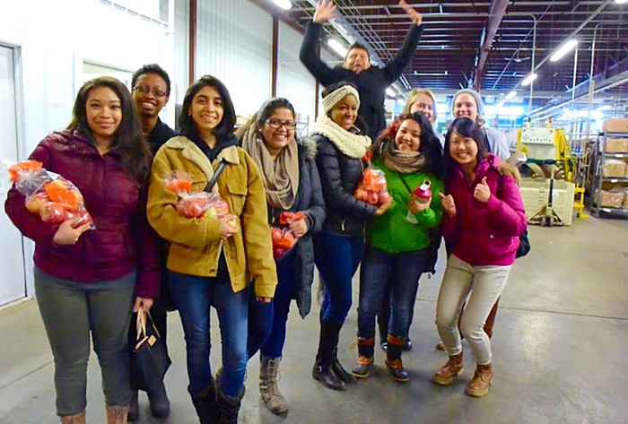 Picture taken with Jazmine Javier '16 and Alicia Canas '16 at an apple processing center.