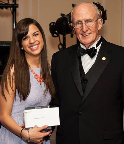 Julianna Lombardi, 1st Place Senior Award Winner with President Dr. Robert A. Scott
