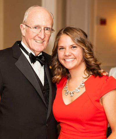 Sarah Cinquemani, 2nd Place Senior Award Winner with President Dr. Robert A. Scott