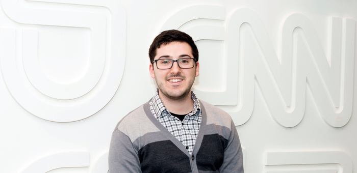 Frank Turano '14 began working as a webmaster and front-end developer at CNNMoney days after graduating from Adelphi.