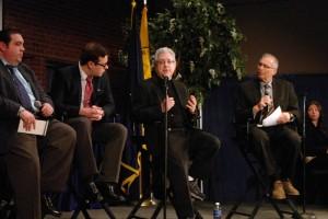 Reporter Jason Molinet, Professors Mark Grabowski, Sal Fallica and Paul Thaler.
