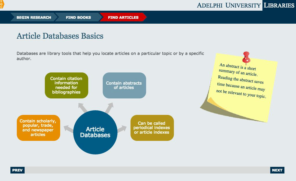 Screenshot from the Adelphi University Libraries interactive tutorial.