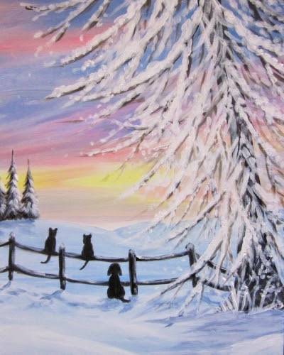 painting of animals in the snow