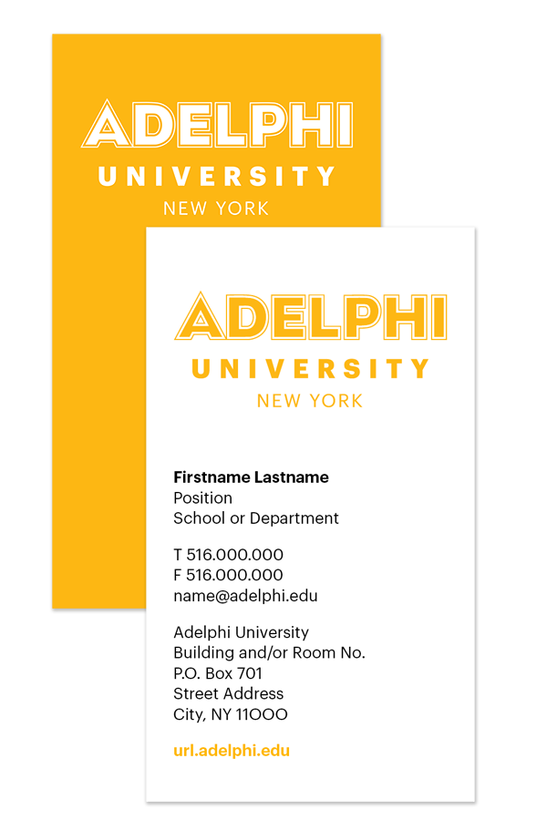 Adelphi University Business Card Example