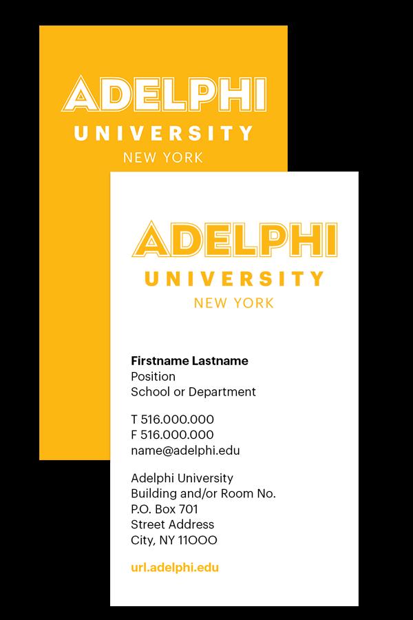 Adelphi University Business Card Example