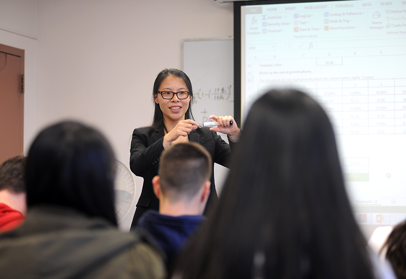 Adelphi University professor during a lecture.