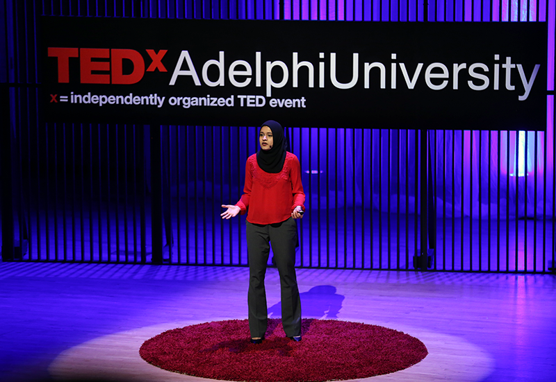 TEDxAdelphiUniversity speaker Aliha Nasrullah '18.