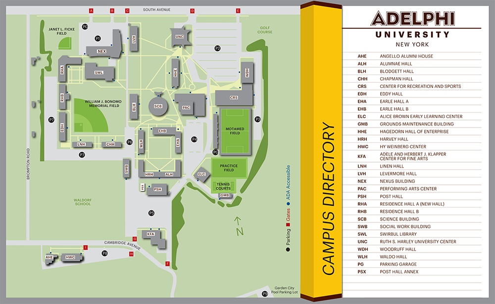 Adelphi University Garden City Campus Map - 2D Rendering