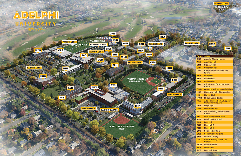 Adelphi University Garden City Campus Map - 3D Rendering