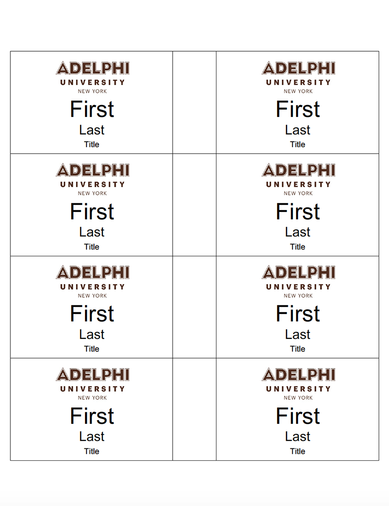 Name Tags Brand Identity Adelphi University - Templates for name tags