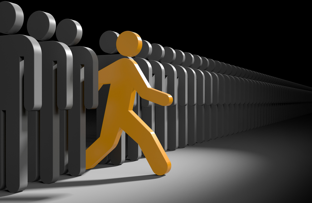 illustration, stylized person stepping out from the crowd