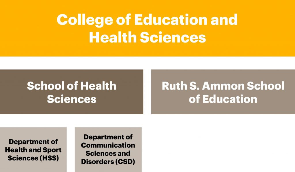 A chart displaying the new school names for the College of Education and Health Sciences