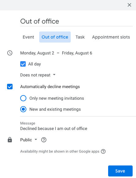 A user marking themselves as out of office in Google Calendar