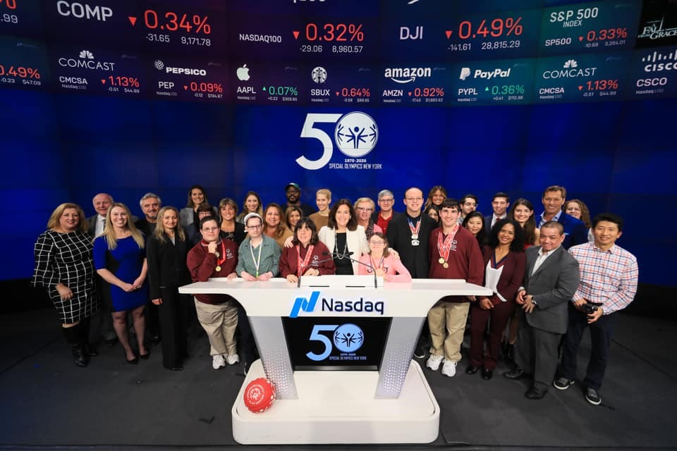 Faculty and students of the Long Island AuD Consortium at the 50th Special Olympics at Nasdaq