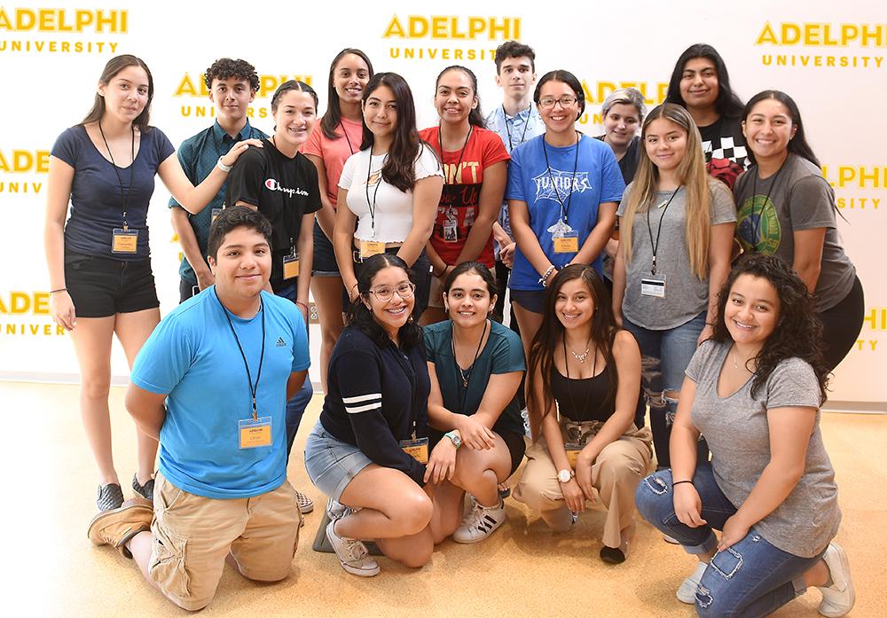 Students from Adelphi's Hispanic Community Partnership Program in August 2019