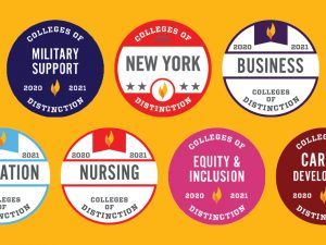Colleges of Distinction badges for Military Support, New York Regional Distinction, Business, Education, Nursing, Equity & Inclusion and Career Development