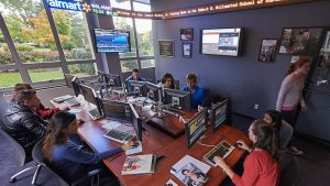 A view inside the James Riley, Jr. Trading Room at Adelphi University as students learn to invest.