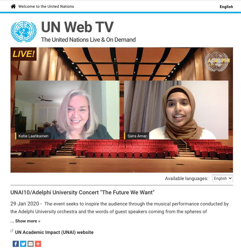 A screenshot of the UN website and concert video.
