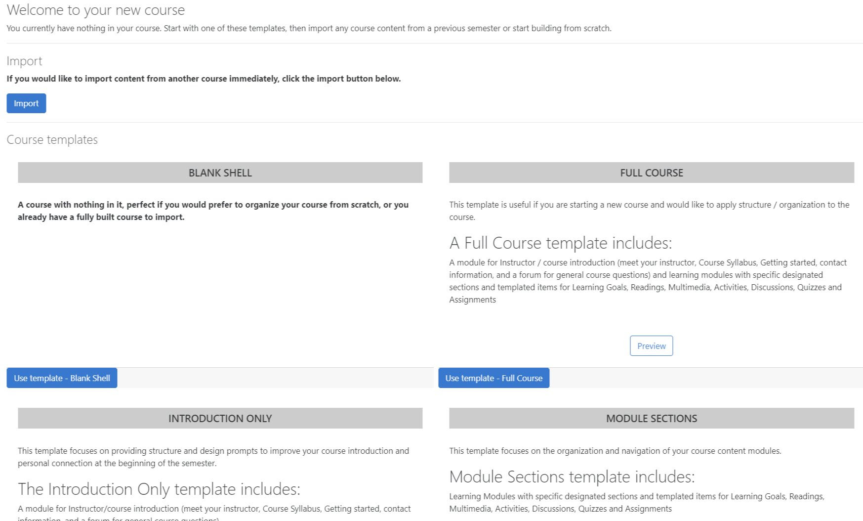 Moodle's new Course template