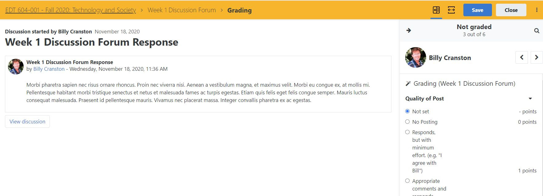 Improved Discussion Forum grading workflow and reporting - Screenshot