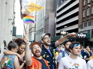 Adelphi students marching in a pride parade in NYC.