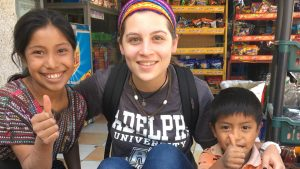 An Adelphi student visiting Guatemala during a service trip.