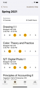 A view of a student's enrolled courses in the new Adelphi mobile app.