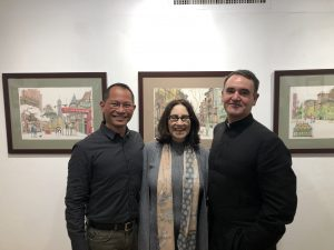 Adelphi university professors posing at the College of Arts and Sciences Salon.