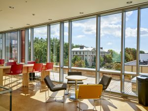 Nexus second floor window seating overlooking Blodgett Hall