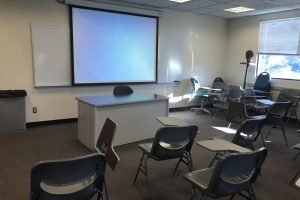 A view of the goodyear lab showing desks and projector