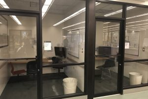 A view of empty viewing rooms in the library