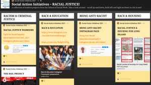 A presentation slide with a collection of student projects from the School of Social Work
