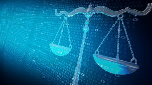 Internet law and cyberlaw as digital legal services or online lawyer advice as a 3D illustration.